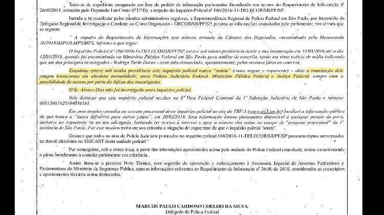 Documento enviado pela PF em que responde a parlamentares sobre inquérito de Alvaro Dias