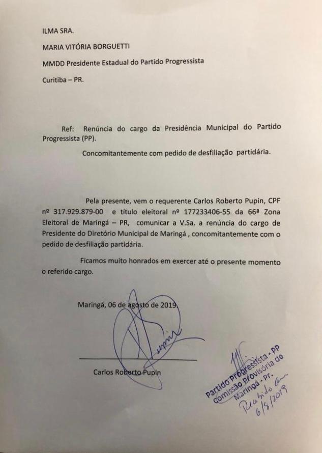 ROBERTO PUPIN, EX-PREFEITO DE MARINGÁ, SE DESFILIA DO PROGRESSISTAS